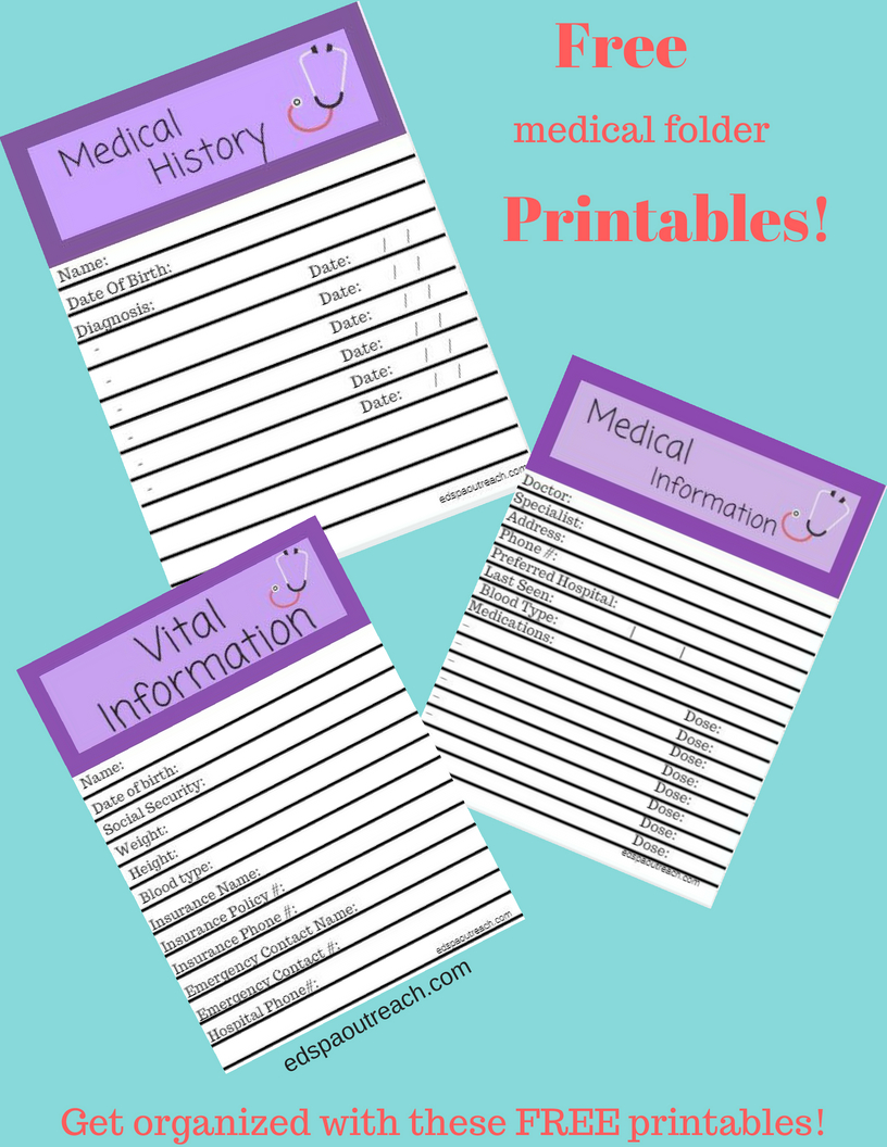picture relating to Free Binder Printables identify ♥ Cost-free professional medical binder printables! ♥ Ehlers Danlos Syndrome